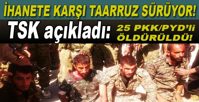 İhanete karşı taarruz sürüyor; TSK açıkladı: 25 PKK/PYD'li terörist öldürüldü