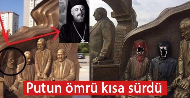 Türk katili Başpiskopos Makarios heykeline vatandaşlardan büyük tepki
