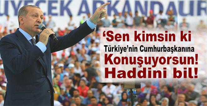 Cumhurbaşkanı Erdoğan: Sen kimsin ki Türkiye'nin Cumhurbaşkanına konuşuyorsun!