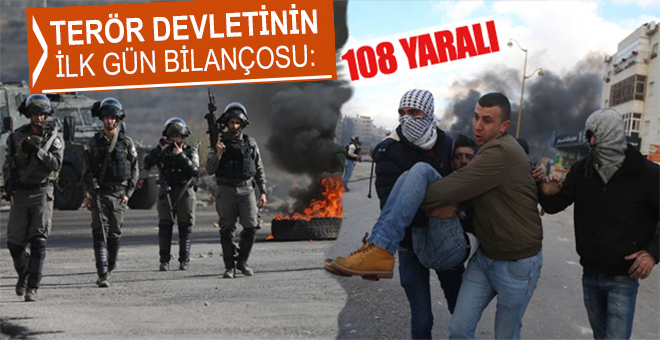 Terör devleti İsrail'in saldırılarında 108 Filistinli Müslüman yaralandı!