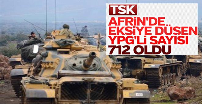 TSK: Afrin'de 712 terörist etkisiz hale getirildi!