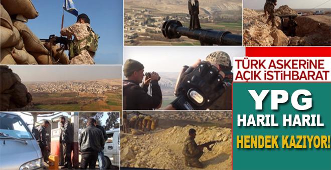 Afrin'de YPG'li teröristler harıl harıl hendek kazıyor!