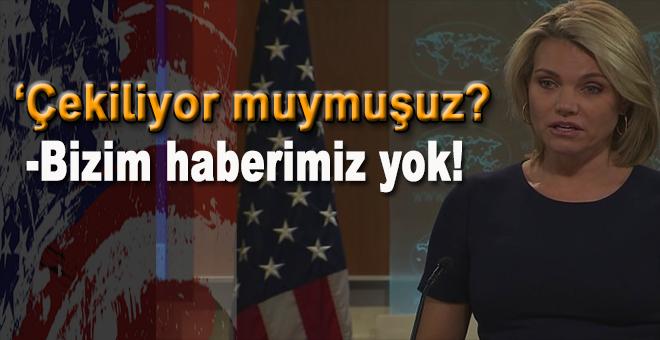 """ABD Dışişlerinden """"bilgimiz yok"""" açıklaması!"""