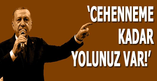 """Cumhurbaşkanı Erdoğan: """"Cehenneme kadar yolunuz var!"""""""