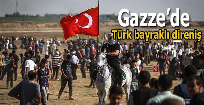 Gazze'de Türk bayraklı direniş!