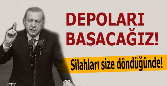"""Erdoğan: """"Sadece nefretlerini ve sloganlarını değil, silahlarını da size çevireceklerdir!"""""""