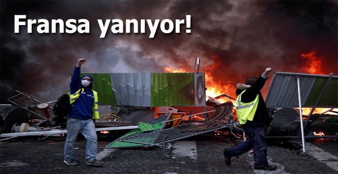Fransa yanıyor; göstericiler caddeleri ateşe verdi!