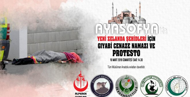 Ayasofya önünde, Yeni Zelanda Şehidleri İçin Gıyabî Cenaze Namazı ve Protesto!