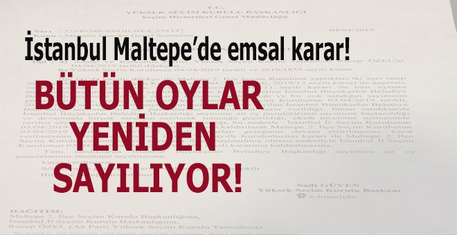 İstanbul Maltepe'de emsal karar; Tamamı yeniden sayılacak!