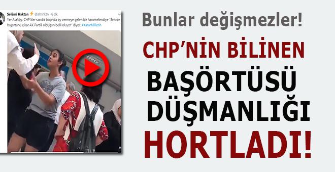 CHP'liler oy kullanmaya gelen başörtülü bir bayana böyle saldırdı!