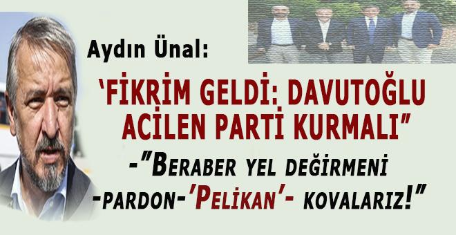 """""""Fikrimi değiştirdim; Davutoğlu acilen parti kurmalı ve yeldeğirmenleri ile -pardon-Pelikan kuşu ile savaşmalı!"""""""