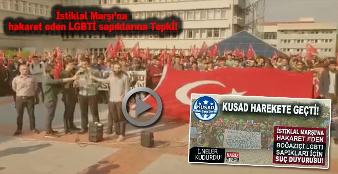 Boğaziçi Üniversitesi öğrencilerinden İstiklal Marşı'na hakaret eden LGBTİ sapıklarına tepki!