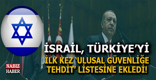 İsrail, Türkiye'yi 'ulusal güvenliğe yönelik tehditler' listesine ekledi