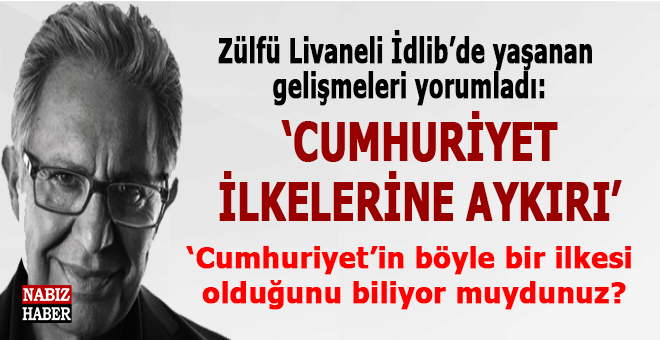 """Zülfü Livaneli İdlib'de yaşanan gelişmeleri yorumladı; """"Cumhuriyet ilkelerine aykırı..."""""""