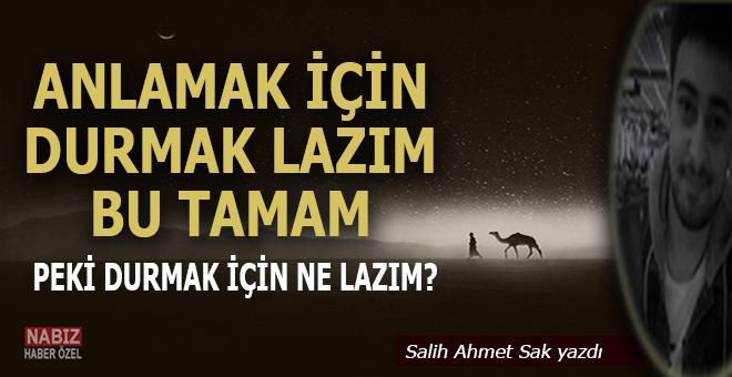 """Salih Ahmet Sak yazdı; """"Anlamak için durmak lazım bu tamam!  Durmak için ne lazım?"""""""