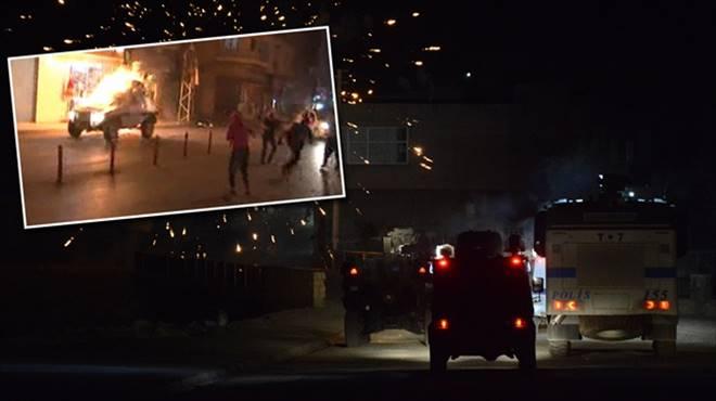 Polis aracını ateşe verdiler!..
