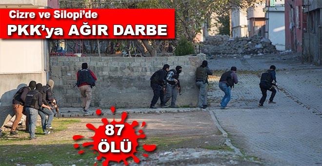 Cizre ve Silopi'de PKK'ya ağır darbe: 87 ölü