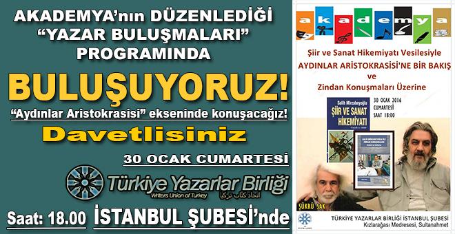 Yazarlar Birliği İstanbul şubesinde buluşuyoruz!
