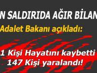 Hain saldırıda ağır bilanço; 31 Kişi hayatını kaybetti, 147 kişi yaralandı!