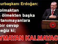 """Cumhurbaşkanı Erdoğan """"Bize olmaktan ya da ölmekten başka şans tanımayanlara öyle bir cevap vereceğiz ki .."""""""