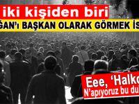 Her iki kişiden biri, Erdoğan'ı başkan olarak görmek istiyor