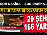 İçişleri Bakanı Soylu'dan hain saldırı ile ilgili yeni açıklama; 29 Şehid, 166 yaralımız var!
