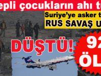 Suriye'ye giden Rus savaş uçağı düştü; 92 Rus askeri Karadenize gömüldü!