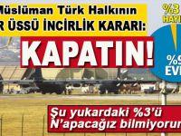 Müslüman Türk Halkının İncirlik Kararı; Yüzde 97; Kapatın!