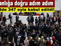 Başkanlığa doğru adım adım; 1. madde 347 oyla kabul edildi