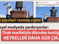 """Atatürk heykeline yapılan saldırı """"Sanatçıları""""(!) cuş-u huruşa getirdi!"""