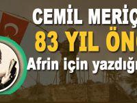 Cemil Meriç'in 83 yıl önce yazdığı Afrin şiiri!