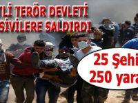 Lanetli terör devleti yine sivillere saldırdı; 25 sivil öldü, 250 yaralı var!