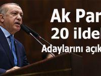 Erdoğan AK Parti'nin 20 ildeki adaylarını açıkladı!