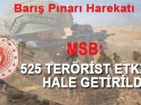 Milli Savunma Bakanlığı'ndan yeni açıklama; 525 terörist etkisiz hale getirildi!