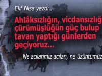 Elif Nisa yazdı; Ne acılarımız acıları, ne üzüntümüz!