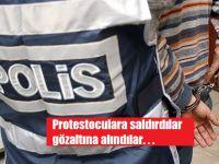 Terörü protesto eden gruba saldıran 23 kişi gözaltında