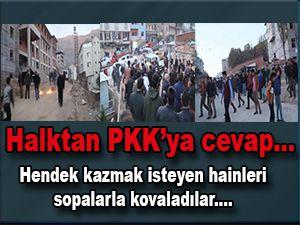 Vatandaşlar PKK'yı taş ve sopayla kovaladı